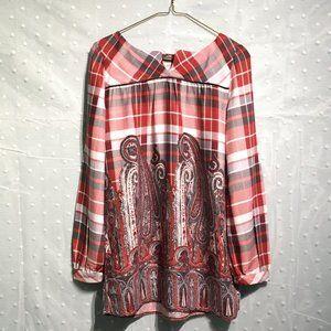 Axara Paris red plaid/paisley tunic